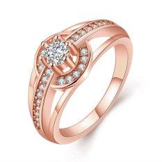 Keabadian Love Wanita Cantik 18 K Rose Gold Plated Round Solitaire Lamaran Cincin Pernikahan Rings Best Perhiasan Janji Dia Tony Anniversary Collection Cincin Perhiasan