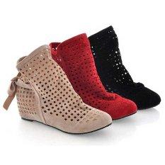 Jual Euro 34 43 Wanita Boots Hollow Out Berlubang Ankle Boot Dalam Wedge Wanita Sepatu Merah Baru