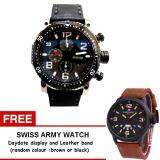 Beli Expedition Chronograph Watch Jam Tangan Pria Hitam Strap Kulit 6658Ssbl Gratis Swiss Army Daydate Display Leather Band Random Colour Cicilan