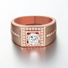 Indah Pria Perhiasan Persegi Berlapis Batu Zircon Putih Cincin Ukuran Lebar Mawar Emas
