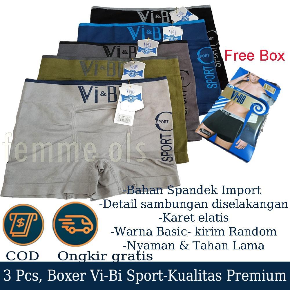 Femme Ols- Paket 3 Pcs Cd Celana/ Pakaian Dalam Boxer Pria V&b Corak Premium Murah Berkualitas By Femme Fashion Ols.