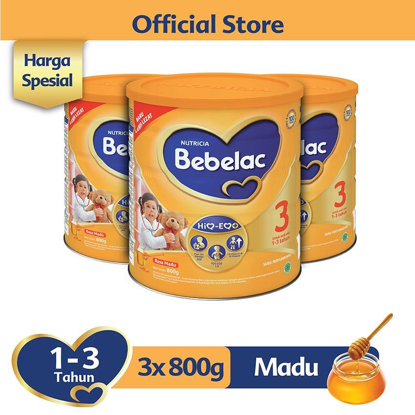 Bebelac 3 Hiq-Eq Madu 800 Gr - Bundle Isi 3 Kaleng - Susu Pertumbuhan By Lazada Retail Bebelac.