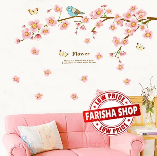 Wall sticker Pink Peach Flower JM7296 (90x60) Stiker Dinding