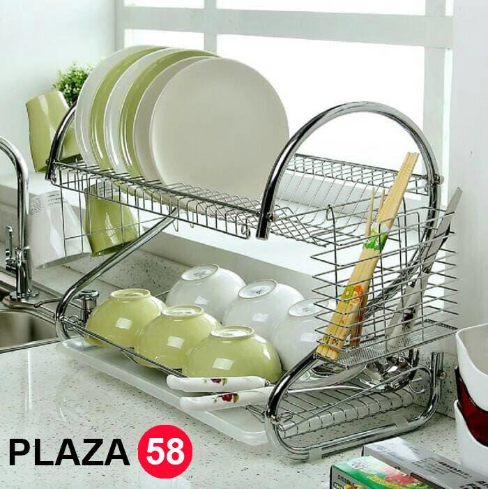 Rak Piring Dan Gelas 2 Susun Stainless Steel + Tatakan By Plaza58.