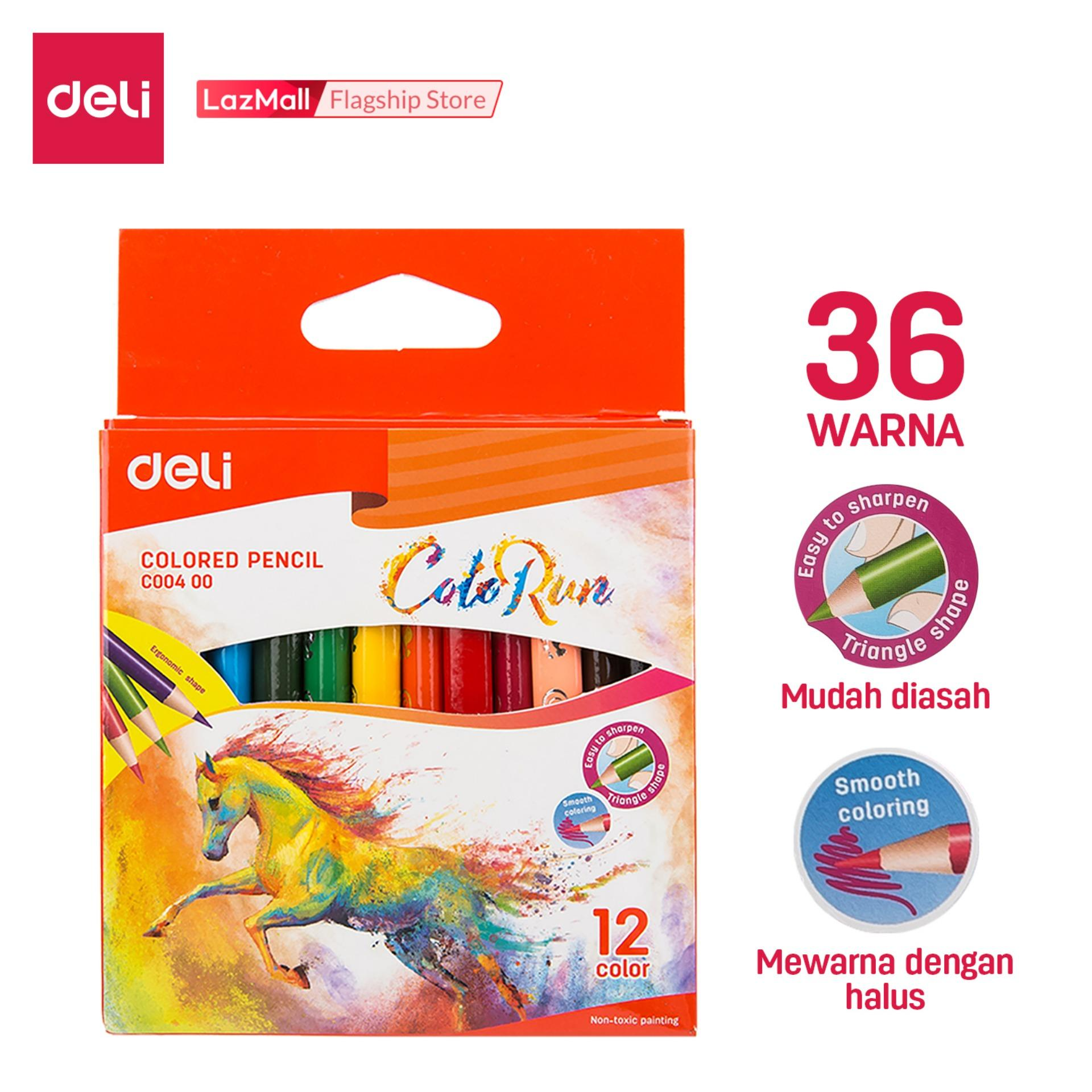 Deli Pensil Warna Sekolah / School Color Pencil - 12C 12warna/box / 12color/box - Terbuat dari poplar, mudah dipertajam, pegangan ergonomis segitiga / Made from poplar, easy to sharpen, Triangular ergonomic Hold (EC00400)