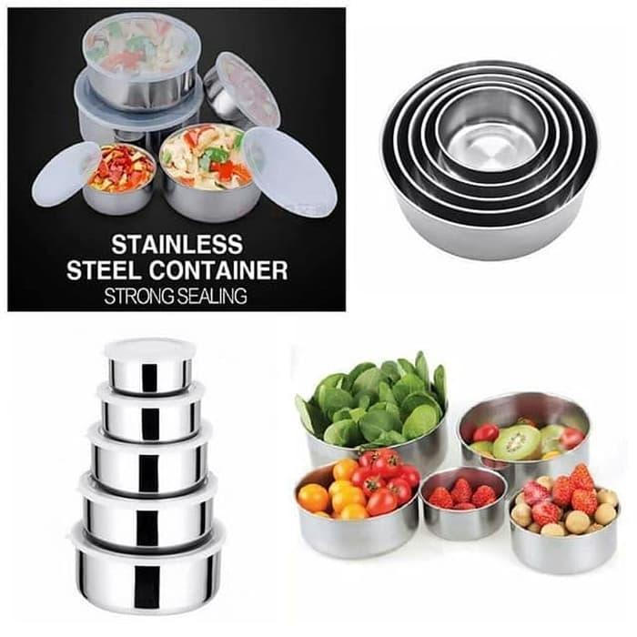 Protect Fresh Box - Rantang Stainless Steel Wadah Penyimpanan Makanan 5 Susun Dengan Tutup Plastik By Grosirstation.