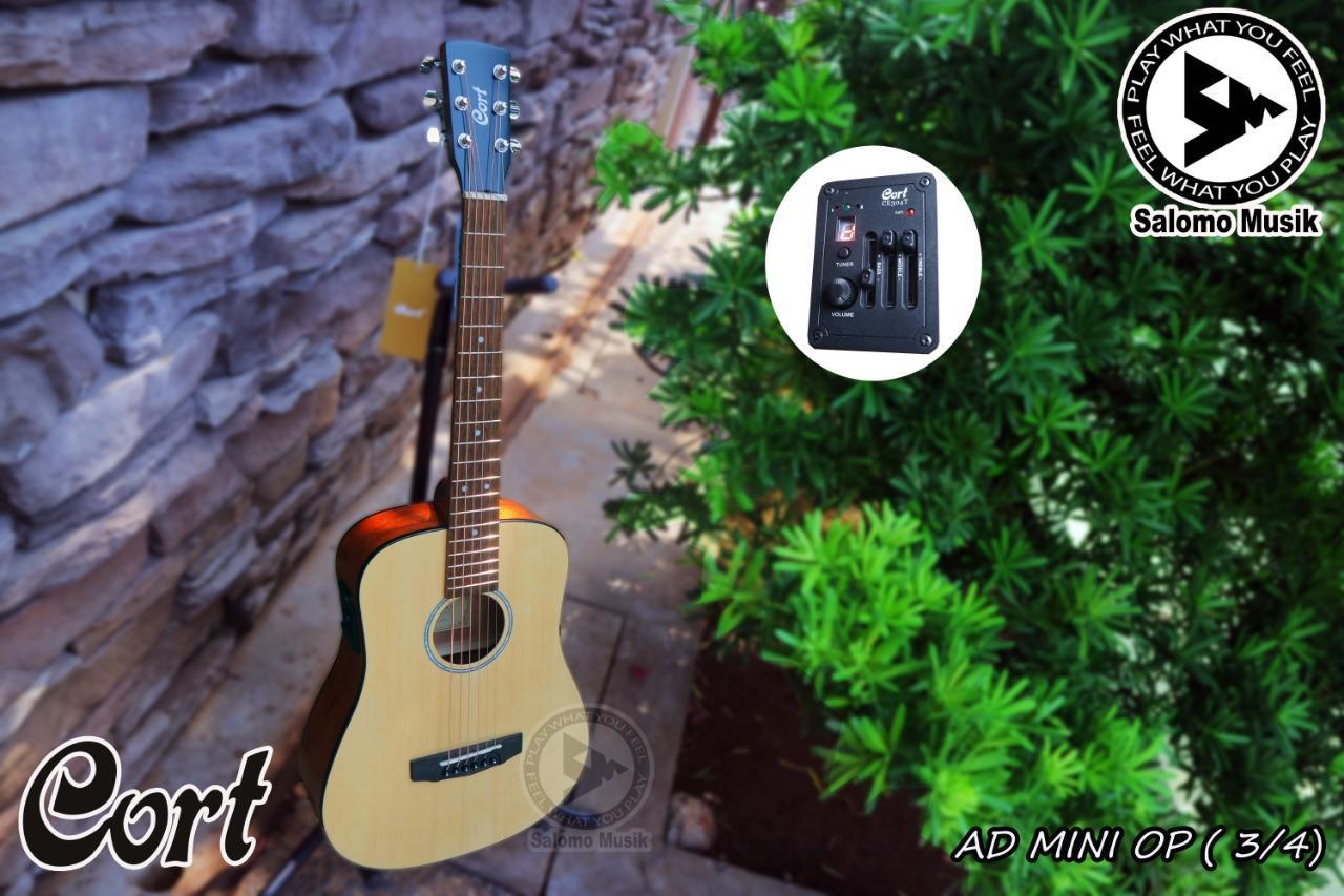 Gitar Akustik Acoustic Elektrik Electric Original Cort AD MINI OP 3/4