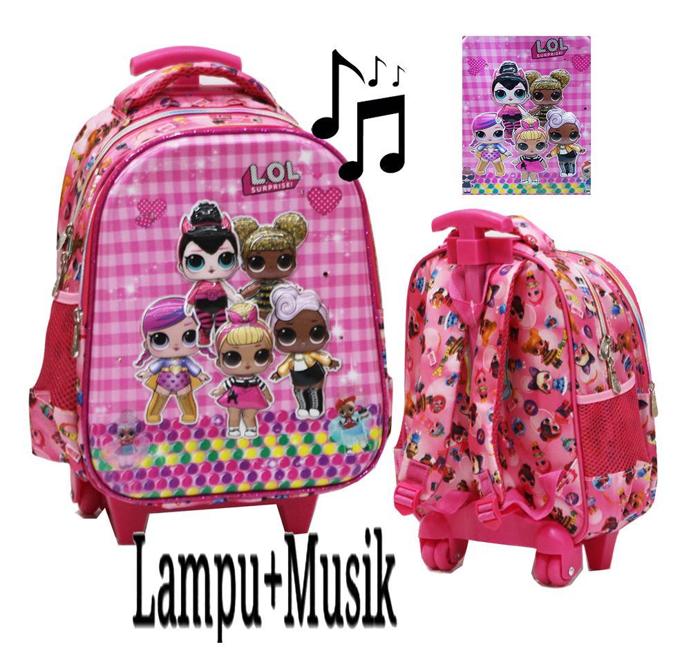 Onlan Tas Lampu & Music Trolley Anak Sekolah Tk Motif Lol - Tsum - Little Pony - Unicorn Karakter Anak Perempuan 5d Timbul Import Pilihan Varian By Abadi Jaya.