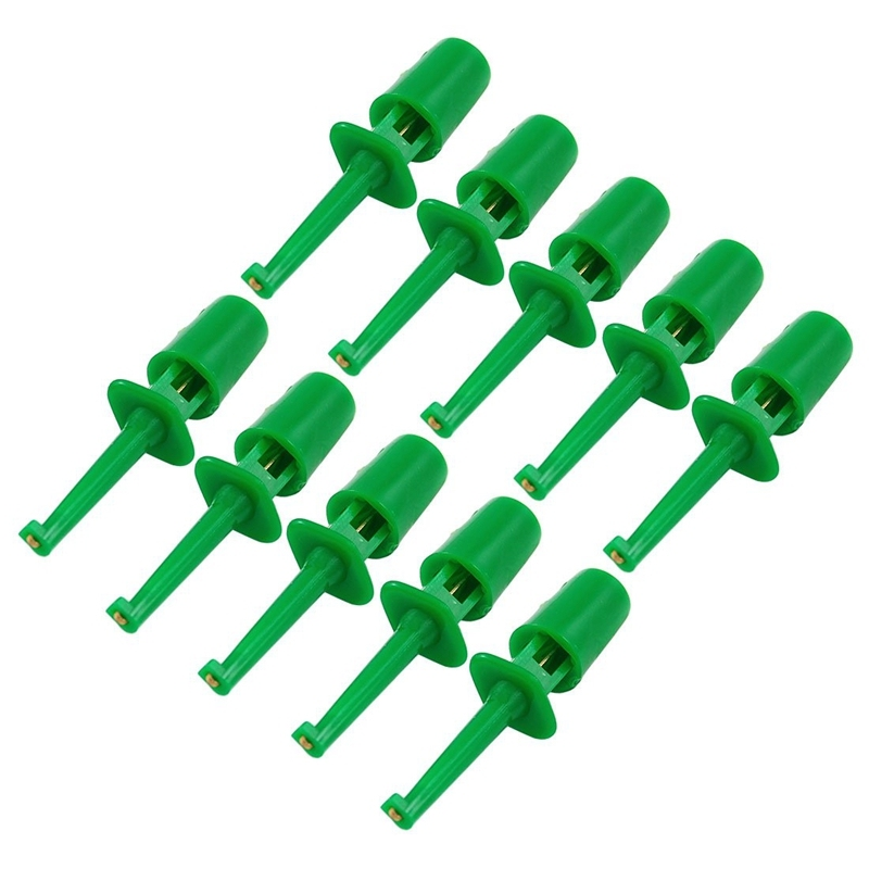 Bảng giá 10 x Spring Loaded SMD IC Test Hook Clip Green for Multimeter Lead Cable Phong Vũ