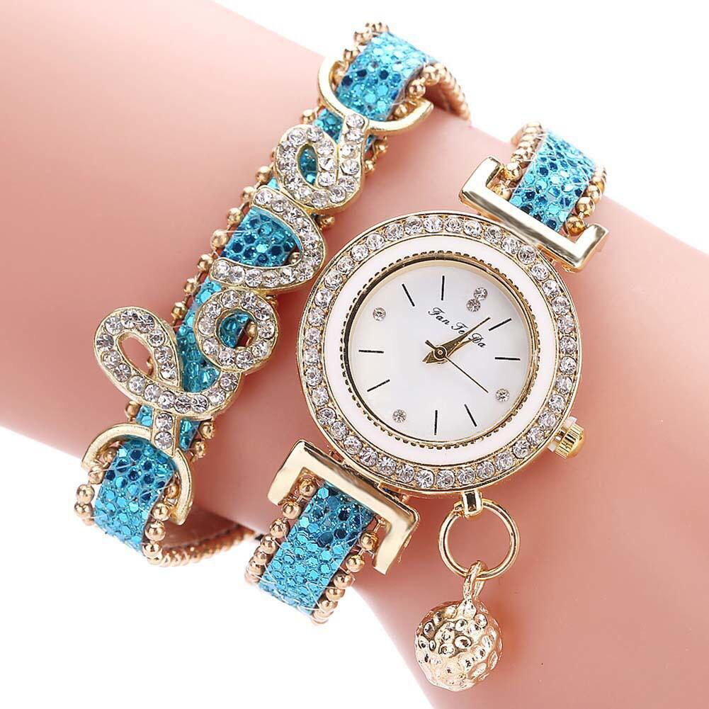Jam Tangan Quartz Analog Model Gelang Lilit Aksen Berlian Imitasi Gaya Vintage untuk Wanita / jam tangan fashion