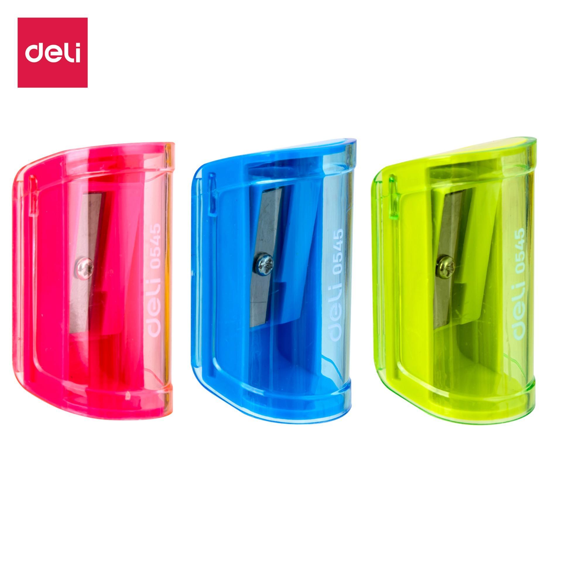 Deli E0545 Pencil Sharpener/rautan - 1-Hole Sharpener W/canister φ7mm 3c - Random Color To Send By Deli Official Store.
