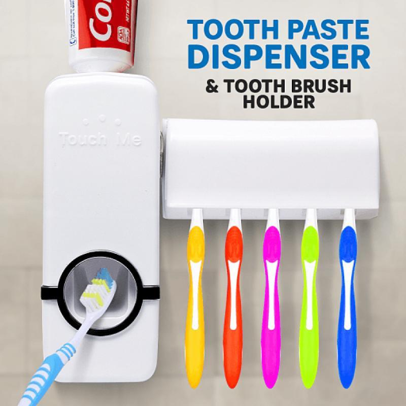 MESH Dispenser Odol Dan Tempat Sikat Gigi - Automatic Toothpaste Squeezing Device - Random Color