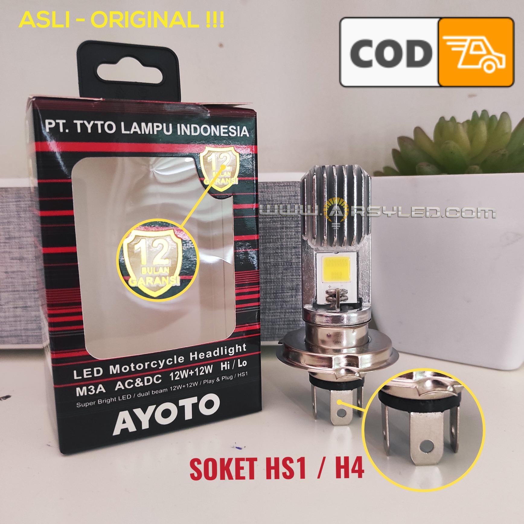 1 Buah Lampu Utama Motor LED Motor Bebek Matic H4 HS1 Hi Lo VIXION BYSON CB150R SCOOPY FI MX KING VERZA TYTO AYOTO ASLI M3A AC DC PNP - Putih