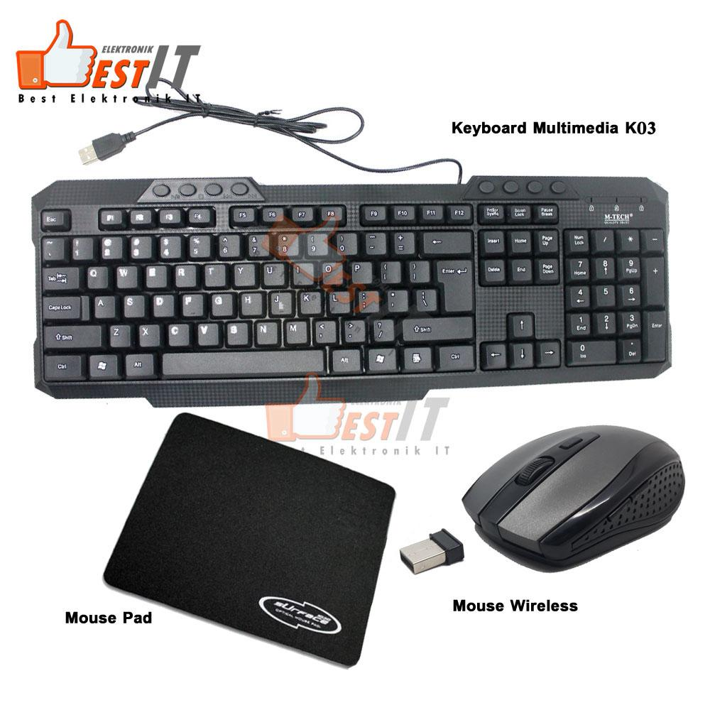 Keyboard Multimedia Combo Paket Mouse Wireless & Mouse Pad By Best Elektronik & It.