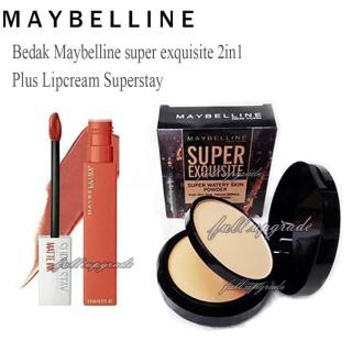 Paket Bedak Super Exquisite Powder 2in1 & Lipcream uper Stay Matte Ink Original thumbnail