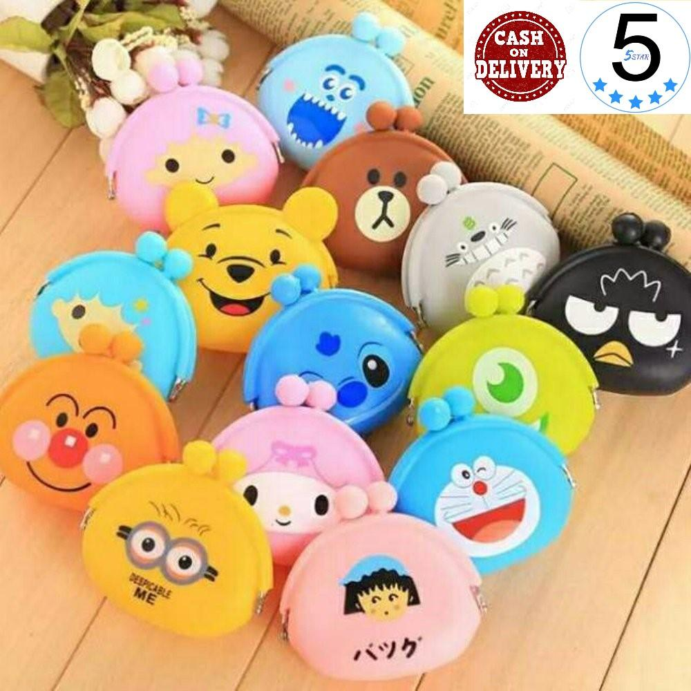 Dompet Silikon Koin Handsfree Karakter Lucu Imut 5tar / Pouch Jelly Silicone Coin Pouch Tas Receh - Random 1pcs By 5 Star.