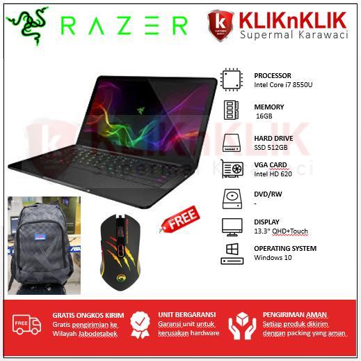 """RAZER Blade Stealth 13-8550U-16GB-512GB-13.3"""" QHD Touch-Win10 Black"""
