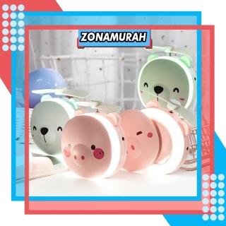 ZonaMurah R191 CERMIN LAMPU LED Mini Fan Kipas karakter 3In1 Portable USB Kaca Rias Make Up Murah COD thumbnail