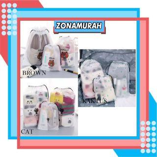 ZonaMurah R080 Tas Kosemetik Pouch Brown Cat Cactus Organizer Bag Import Transparant tas plastik thumbnail