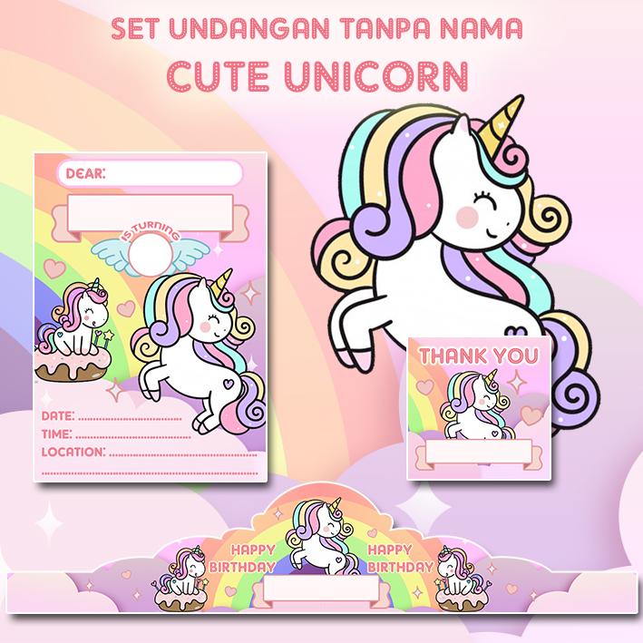 Desain Undangan Unicorn - contoh kartu ucapan