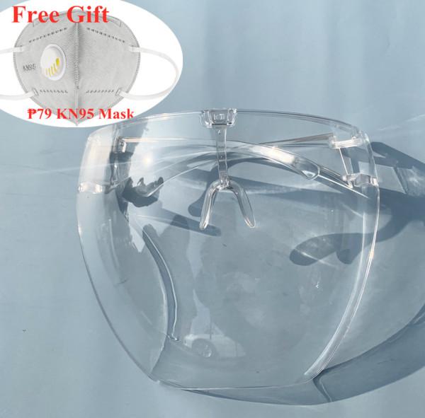 【Buy 1 Get 1 free gift】Face Shield Acrylic Full Face Shield Visor Fiber Glass Faceshield Face Cover Eye Shield Protective Glasses Goggles Anti-spray for Women Men