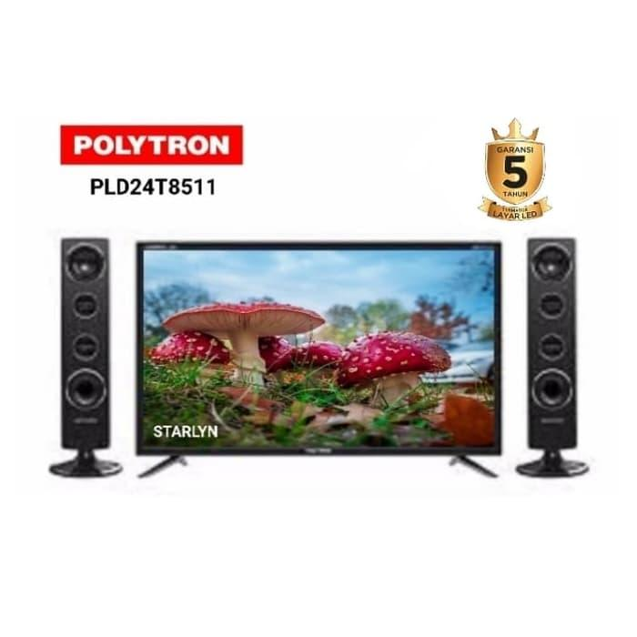 Led Tv 24 Inch Polytron Type: 24T8511 -Free Speaker 2 Bh- Khusus Medan