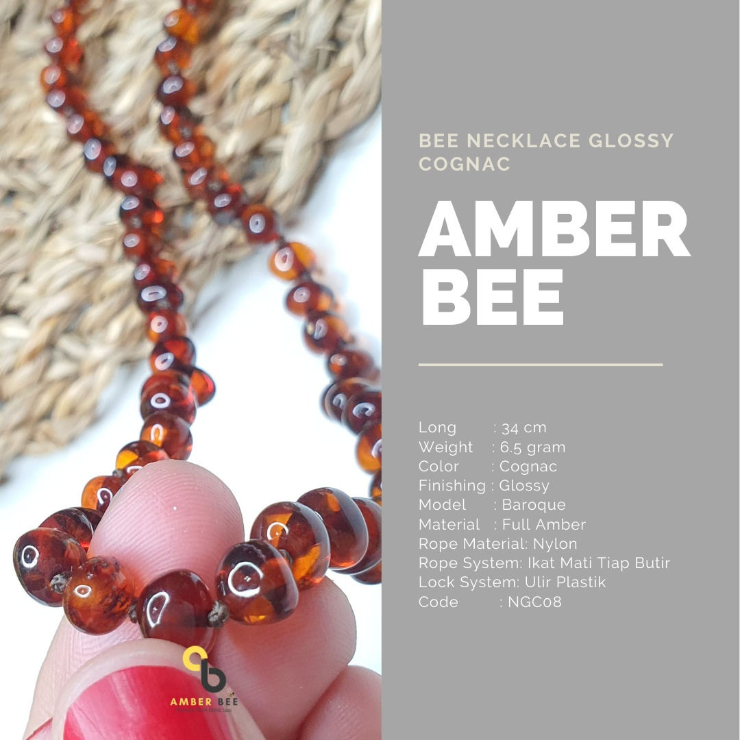 Kalung Amber Anak Premium Glossy Cognac NGC08