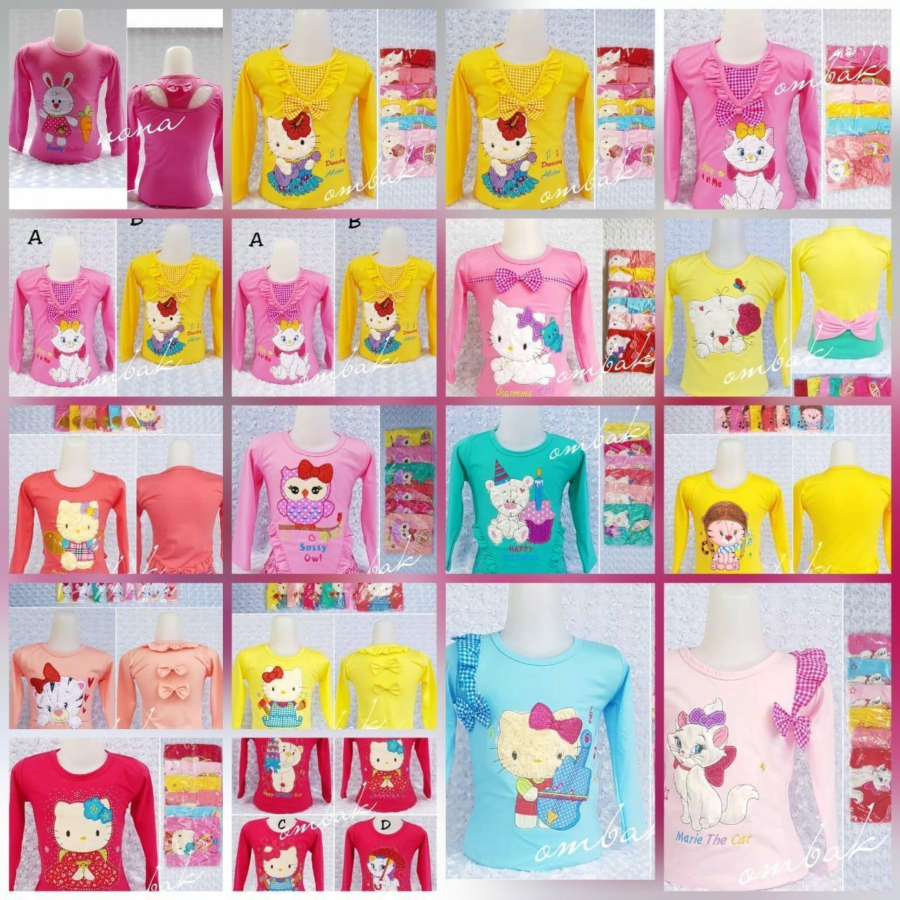 Baju Anak Tangan Panjang Kaos Grosir Kartun Ukuran Lengkap 1-8 Tahun Motif Randon