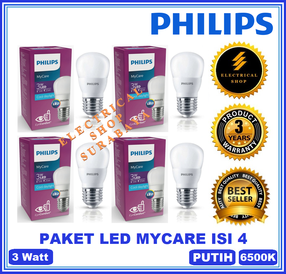 PAKET ISI 4 PHILIPS LAMPU LED BULB MYCARE 3W / 3 WATT PUTIH (BERGARANSI 3 TAHUN) LEDBULB MURAH HARGA GROSIR