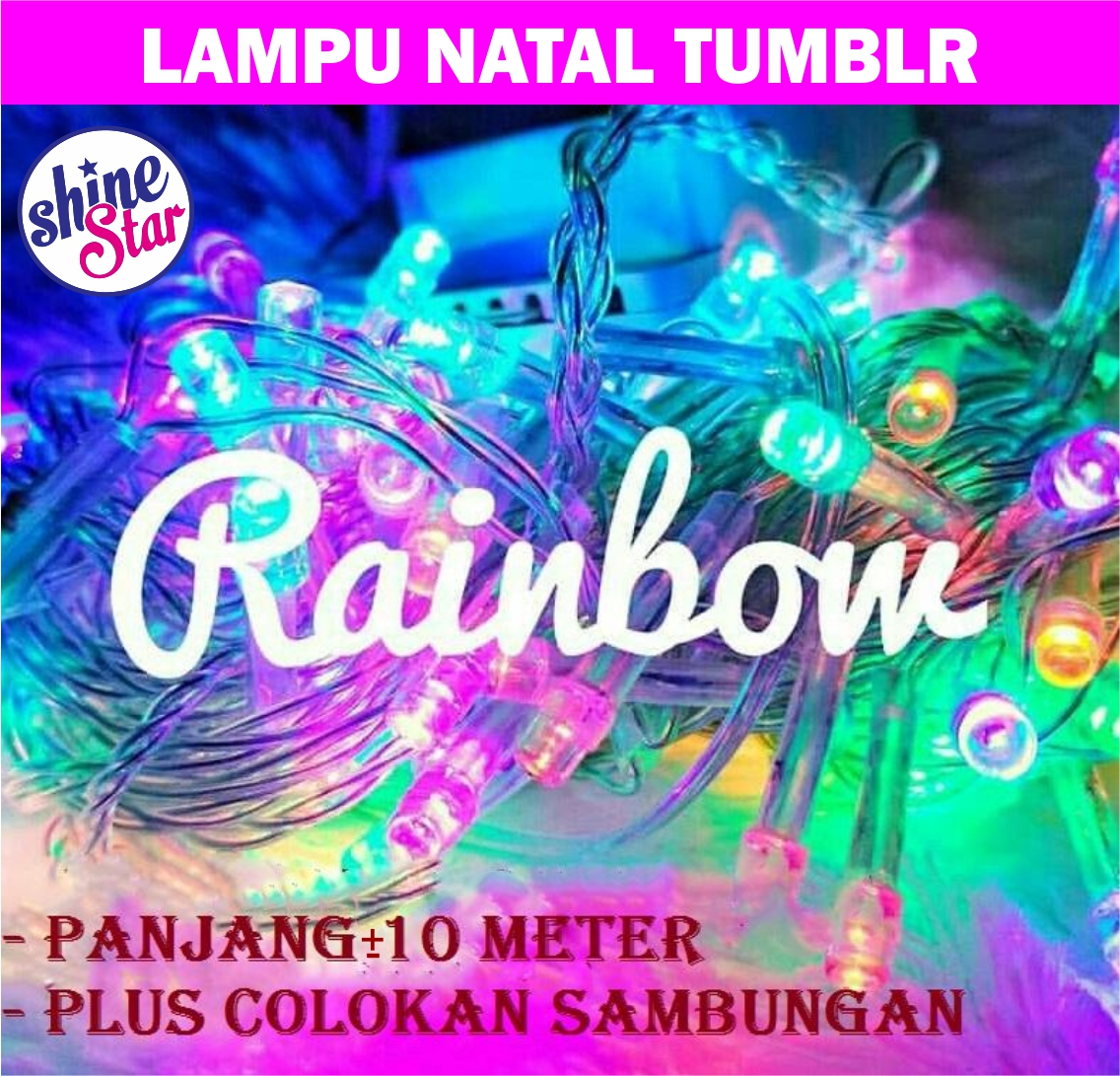 SHINE STAR - Lampu Tumblr Panjang 10 Meter ORIGINAL - 100 Lampu Warna Warni / Lampu Natal Rainbow Lampu Tidur LED RGB Twinkle Light Tumblr Light