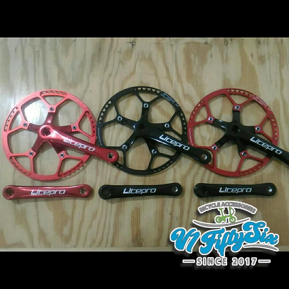 Crankset LITEPRO Single Chainring 53T 56T 58T Cocok Untuk Sepeda Lipat 16 20 Inch Fnhon Dahon Polygon