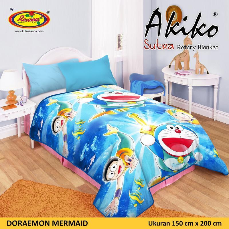 Selimut Akiko Sutra Rotary 150x200 Doraemon Mermaid