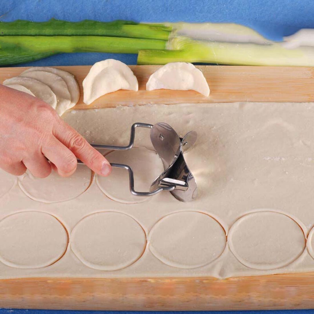 Baik Adonan Baja Tahan Karat Tekan Kue Pastel Cetakan Ravioli Pembuat Memasak Alat Kue Kering Lingkaran
