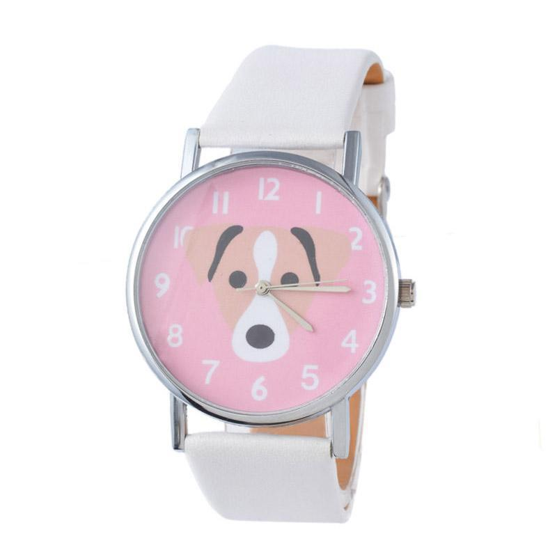 Cute Pet Dog Children Faux Leather Girl Watch Quartz Casual Womens Wristwatches Colour: white Malaysia