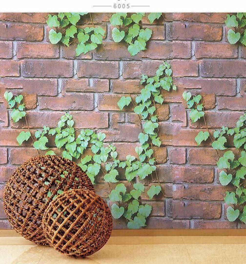 Wallpaper stiker motif bata coklat daun rambat wallpaper dinding murah