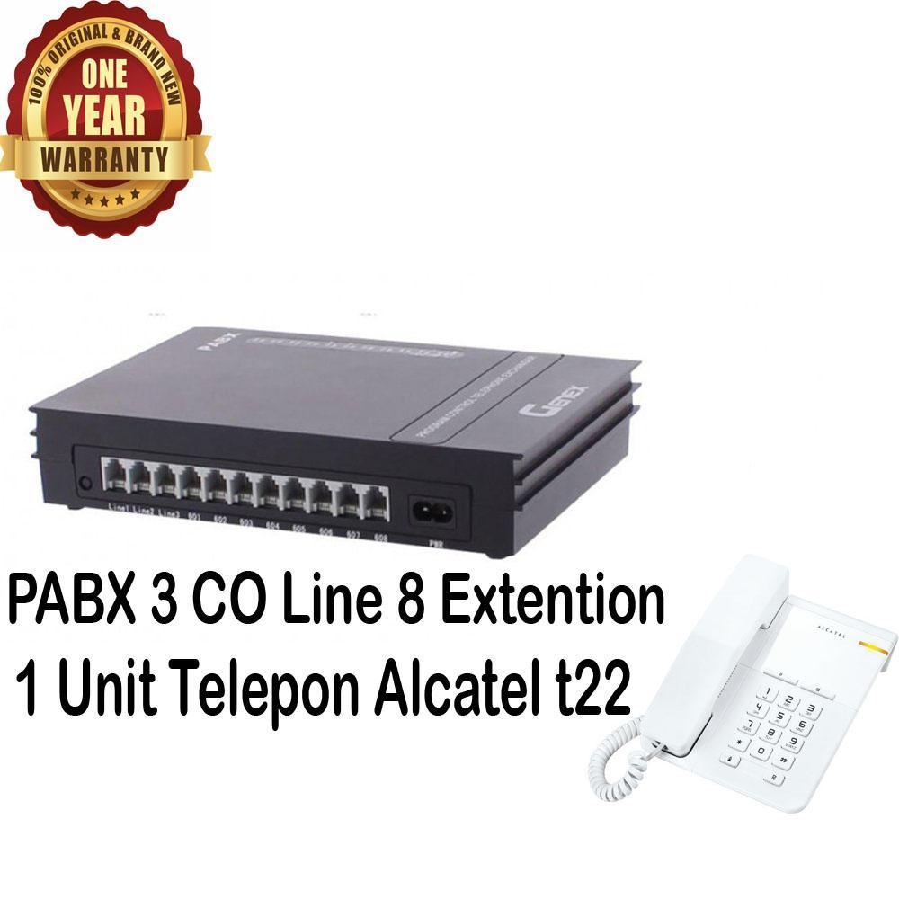 Genex Best Seller Murah PABX PBX D308 + 1 Unit Alcatel T22putih - Paket PABX 308 Sahitel 308 PABX Mini PABX Bergaransi