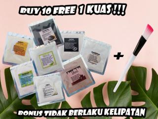 [10 Free kuas ] 5gr Face Organic Mask Masker Organik Masker Kecantikan Spirulina thumbnail