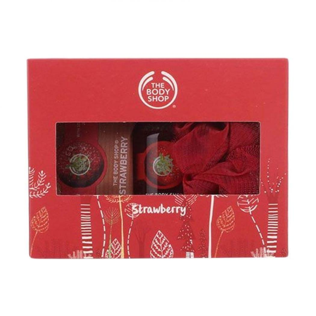 The Body Shop Strawberry Gift Set Collection (soap Bar 100gr + Shower Gel 60ml + Shower Puff) - Original Counter By Dnc Fashion