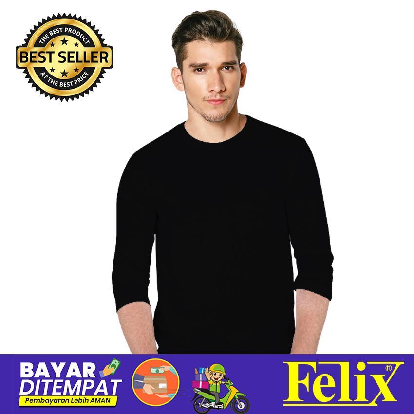 FELIX Kaos Pria Polos Premium Hitam Lengan Panjang O-Neck Combed 30s Premium Distro / Kaos Hitam Solid / Baju Kaos Distro / Kaos T Shirt Cowok / Kaos Murah Distro / Kaos Keren Terbaru / Kaos Atasan Pria Dewasa / Casual Tumblr Tee