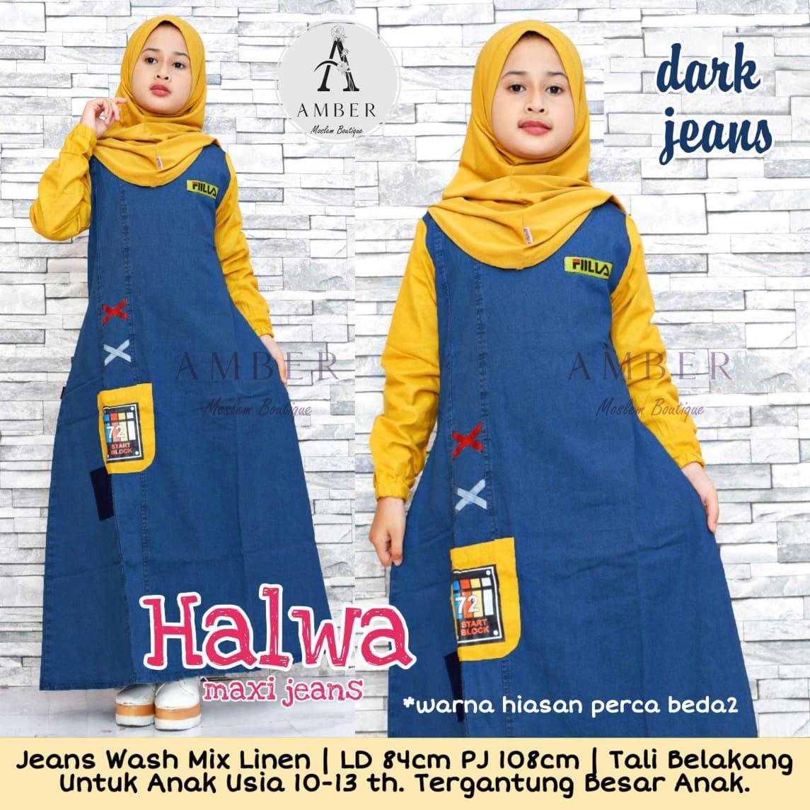 Helwa Maxi Jeans Anak Usia 9 - 9 Tahun Baju Gamis Anak Perempuan Umur 9  Tahun - Model Dress Anak Terbaru - Baju Dress Anak Perempuan - Baju Anak