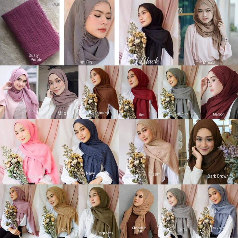 Hijab/Jilbab PASMINA CRINKLE Cotton warna TERLENGKAP