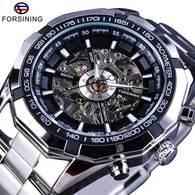 Forsining Merek Mewah Mewarnai Stainless Steel Strap Rangka Transparan Kotak Emas Mens Watches Automatic Mechanical Orologio Pria By Chengyuan Co.,ltd.