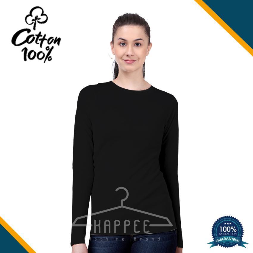 KAPPEE Kaos Polos Wanita Premium Hitam Lengan Panjang O-Neck Cotton combed 30s /  Kaos Hitam Reaktif / Kaos Polos Murah / Kaos Termurah / Baju Kaos Distro / Kaos T Shirt Cowok / Kaos Keren Terbaru / Kaos Atasan Wanita Dewasa / Casual Tumbler Tee