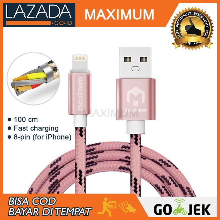Maximum Nylon Kabel Data 8-pin 2A Fast Charging Data Cable 1 Meter for Iphone