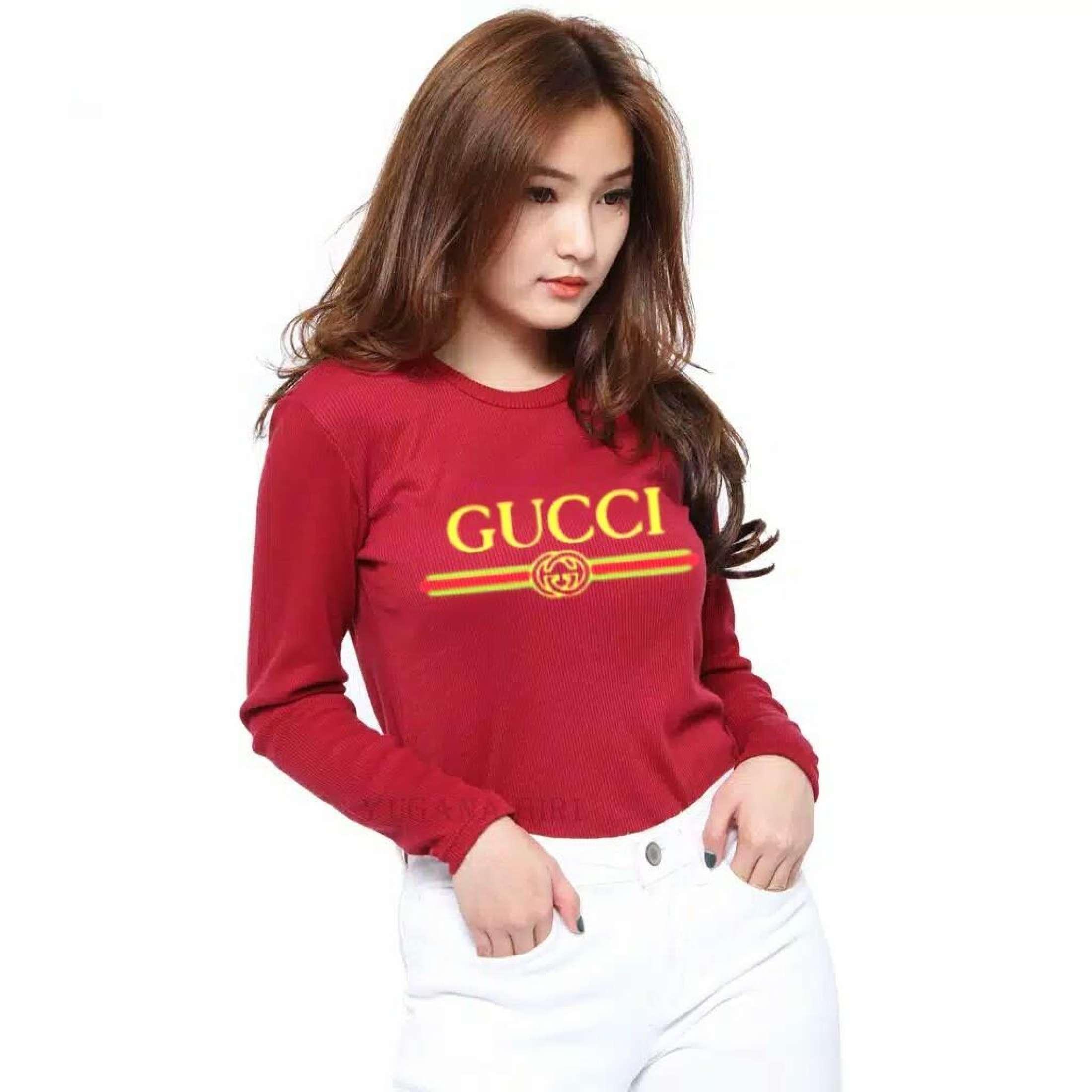 TERBARU!!! Cantik.Fashion Tshirt/ Kaos Wanita. Baju Atasan Guecci Lengan Panjang