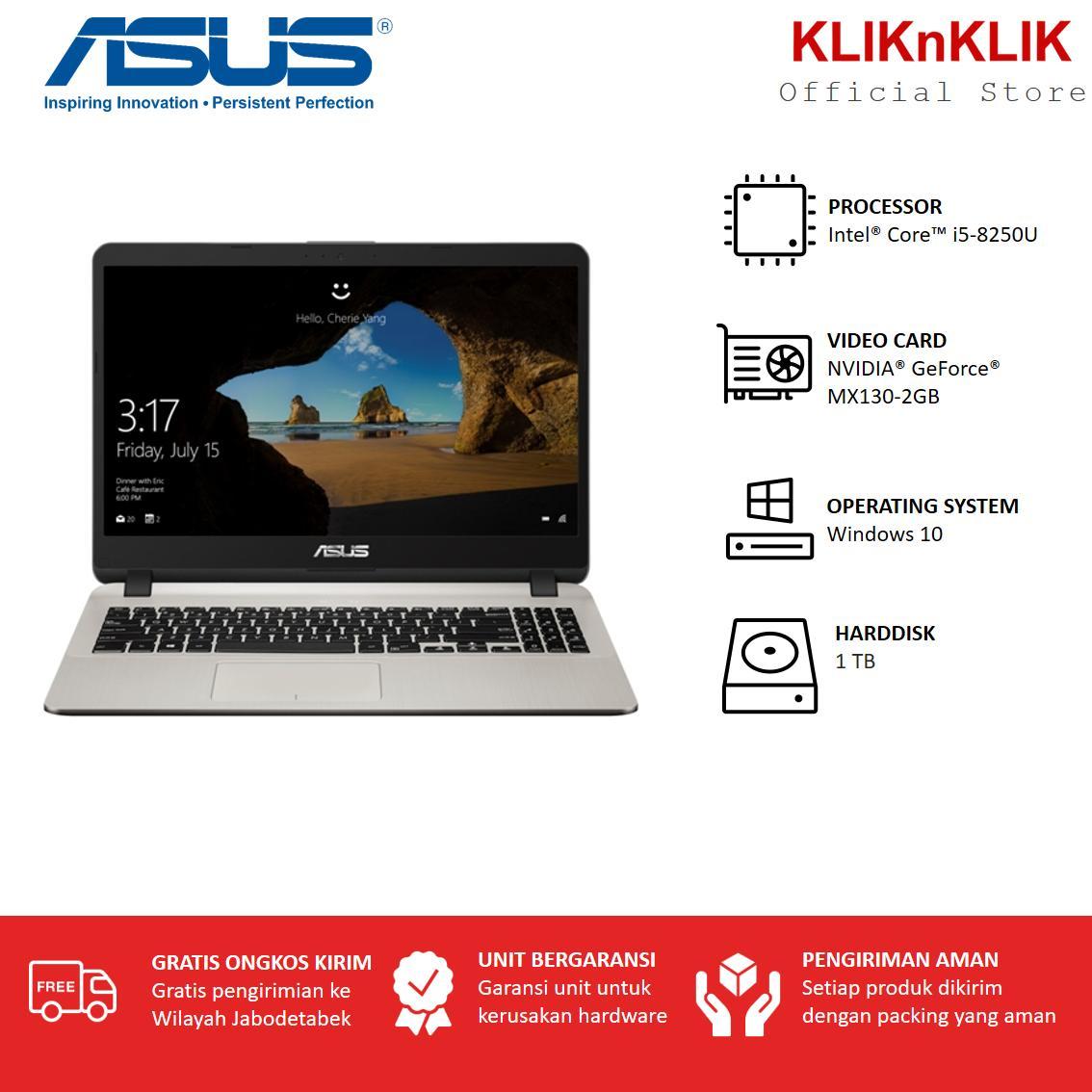 ASUS A407UF-BV512T - RAM 4GB - Intel i5-8250U - HDD 1TB - nVidia MX130-2GB - 14 - Widows 10 - Gold - Laptop Murah