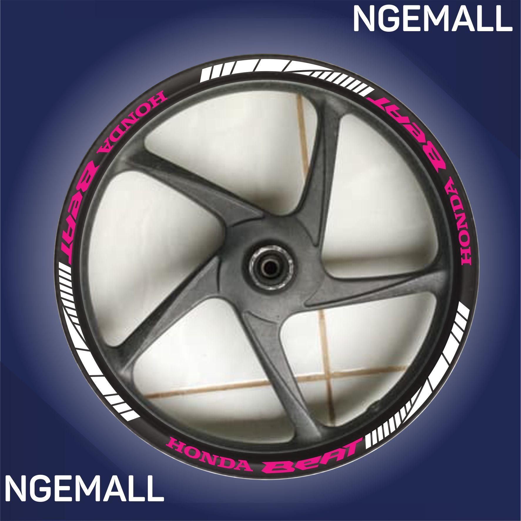 Ngemall - Aksesoris Motor Stiker Cutting 3 Velg Honda Beat - Putih Kombinasi Pink - Ngemall