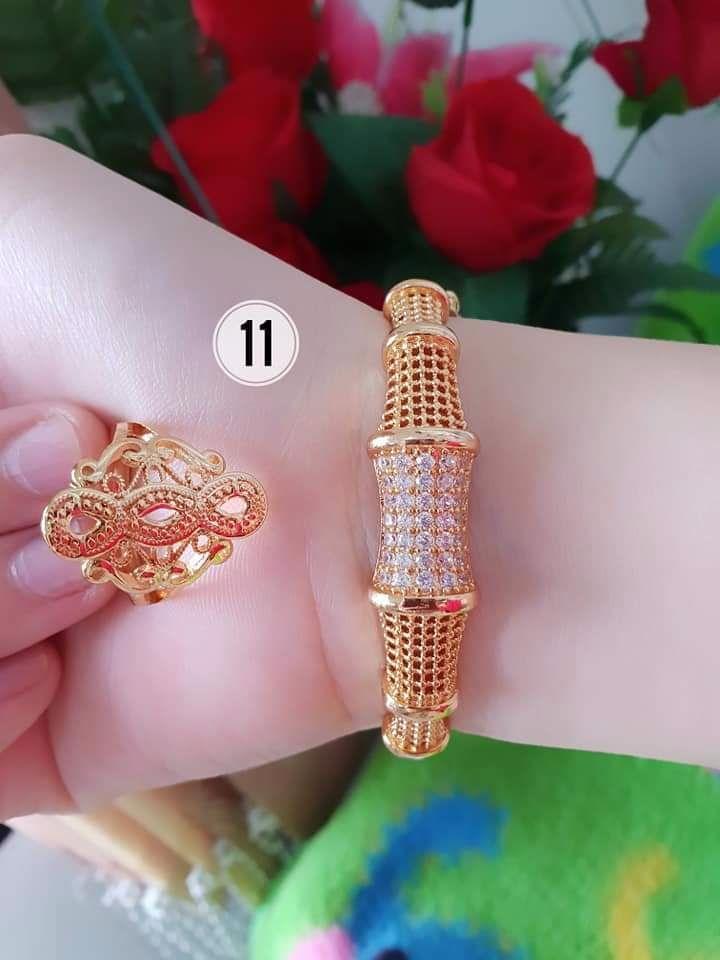 Gelang bangle dan cincin permata terbaru xuping lapis emas 18 k