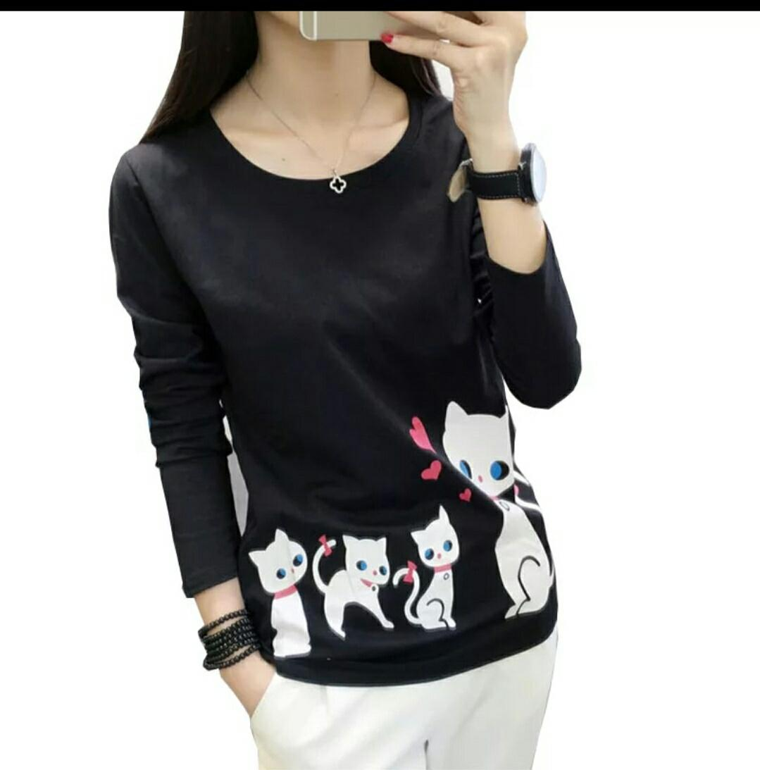 Kaos Wanita Tangan Panjang Kaos Gambar Kucing Pakaian Santai Wanita Atasan Wanita Lengan Panjang Kaos Korean Baju Kaos Wanita NR Ttyki