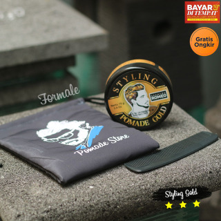 (FREE SISIR DAN POUCH POMADE) Shantos Romeo Styling Pomade Warna 75g - Hair Coloring Pomade GOLD Temporary thumbnail